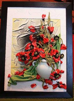 handmade wall decorations, framed leather flowers