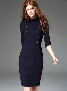 Vintage Autumn Double-Breasted Patch Skinny Dress