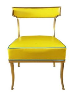 style court: Billy Haines: Yellow and Turquoise chairs designed in the Turquoise Chair, Yellow Turquoise, Leopard Chair, Art Deco Furniture, Take A Seat, Mellow Yellow, Sofa Chair, Home Interior Design, Modern Interior