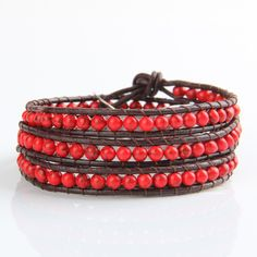 Dark Red Agate Wrap Bracelet