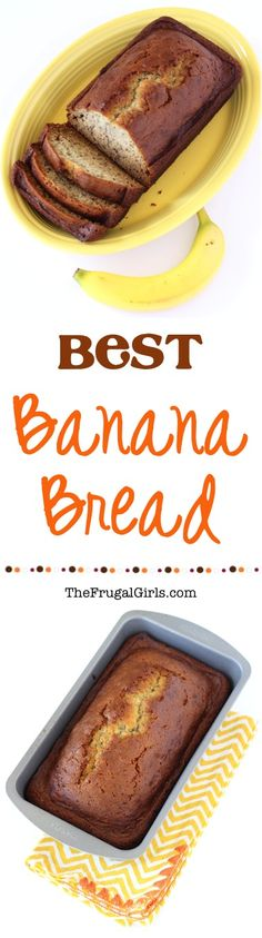 Easy Banana Bread Recipe!  Simple to make and SO delicious! | TheFrugalGirls.com