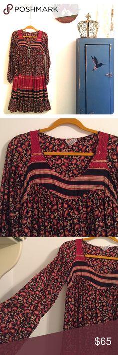 Vintage bohemian peasant dress m Super soft cotton vintage dress. Paisley print with stripes, burgundy and black. 100% cotton. Made in Pakistan. Labeled Kaiser hand wash. Dresses Midi