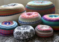 upcycled poufs.  love.  www.wanelo.com/... . #pufes #puffs