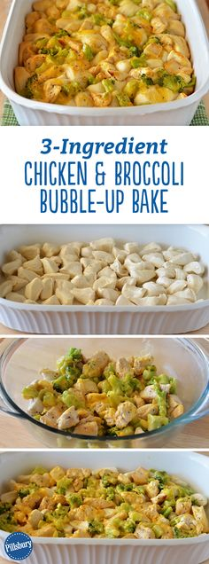 Yes, you can make a delicious bubble-up bake with only three ingredients: chicken, broccoli and biscuits! We suggest sprinkling shredded Cheddar cheese over the top before baking for a cheesier bake.