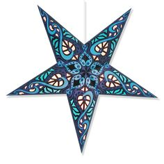 """Paper-backed cutouts make this star lantern glow like a stained glass window. Star lantern measures about 24"""" across and 6"""" deep, ships flat with complete assembly instructions. 12' electric cord with on/off switch optional for a little more."""