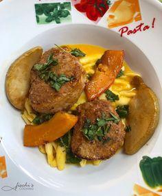fischis cooking and more: lungenbraten auf pasta mit cremiger kürbissauce Casarecce, Chili, Pasta, Beef, Food, Al Dente, Credenzas, Browning, Recipes