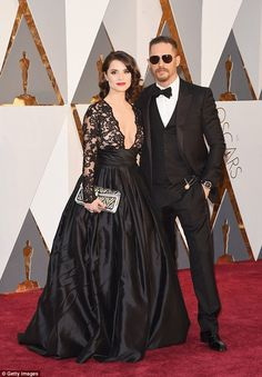 Showstopping: Tom Hardy, 38, was joined by his stunning wife Charlotte, 34, at the Oscars ceremony for a night that will no doubt live long in the memory