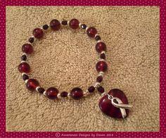 Burgundy Heart Awareness Bracelet | Designs-By-Dawn - Jewelry on ArtFire