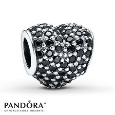 Pandora Charm Black Crystal Pavé Heart Sterling Silver