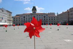 BoraMata.Piazza Unità e 150 girandole rosse...via con il vento...