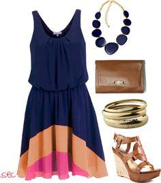 Navy blue, orange, and pink