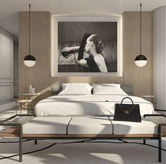 Modern bedroom, globe pendants. Ety Azougy (@ando_studio)