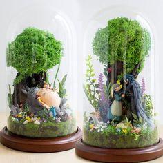 Garden Terrarium, Terrarium Jar, Diy Craft Projects, Diy Crafts, Pretty Things, Pokemon Terrarium, Studio Ghibli Characters, Anime Crafts, Miniature Figurines