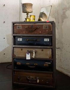 recycled cabinet and old suitcases for drawers take tops off of suitcases #Live Consciously
