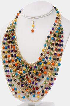 Gold Tone Rainbow Beaded Necklace Set.