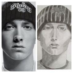 Eminem portrait, pencil drawing