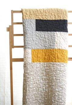 Elephant and dot in yellow and grey quilt  toddler kid or by Namoo