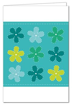 Grußkarte zum Prickeln - Blumen Türkis/Grün - mit farbigem Umschlag