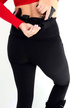 Ditch the bulky belt and make concealed carry comfortable and fashionable with concealed carry leggings from Dene Adams. Concealed Carry Women, Concealed Carry Holsters, Iwb Holster, Athletic Looks, Business Dresses, Solid Black, Get Dressed, Carry On, Things That Bounce
