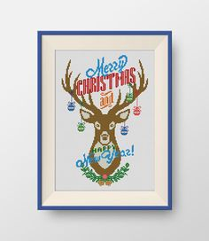 Happy new Year cross stitch pattern, Christmas deer cross stitch pattern, Merry christmas cross stitch pattern, Instant Download, PDF, P073 by NataliNeedlework on Etsy