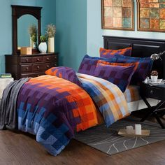 Full Size Purple, blue and yellow orange plaid design modern chic Bedding Sets - EnjoyBedding.com