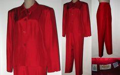 TALBOTS Silk Pant Suit 14 Side Zip Pants Button Front Jacket RED #Talbots #PantSuit