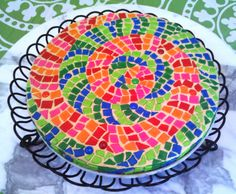 Mosaic fondant tile cake to look like a talble top that my sister in-law made with real tiles!