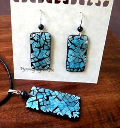 Blue Rectangles Earrings and Pendant Eggshell Mosaic Jewelry by So Jeo