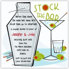 stock the bar theme bridal shower layouts - Google Search