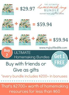 Get two homemaking bundles for the price of 2! What a great way to get awesome gifts for your girlfriends for mother's day!! (free laundry detergent and eyeshadow with each one!!) http://wp.me/p1ex9B-Ns