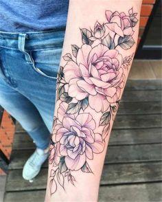 Rosa und lila Pfingstrosen von Olga Koroleva Pink and purple peonies by Olga Best Sleeve Tattoos, Body Art Tattoos, New Tattoos, Purple Tattoos, Temporary Tattoos, Pink Tattoo Ink, Tatoos, Henna Tattoos, Skull Tattoos