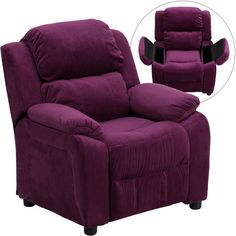 Deluxe Heavily Padded Contemporary Purple Microfiber Kids Recliner with Storage Arms - Overstock™ Shopping - Great Deals on Flash Furniture Kids' Chairs