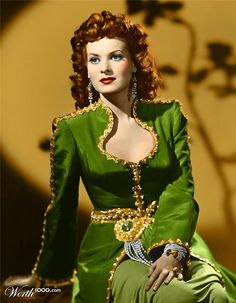 Maureen O'Hara dazzles in emerald with her beautiful hair <3