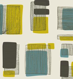 retro wallpaper vintage mid century Blue, Mustard and Grey Stripey Windows by Hemingway Design Graphic Patterns, Textile Patterns, Print Patterns, Pattern Print, Modern Patterns, Textile Prints, Mid Century Modern Art, Mid Century Art, Mid Century Modern Wallpaper
