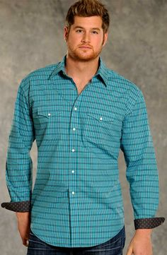 Rough Stock Mens Vintage Long Sleeve Plaid Western Snap Shirt - Turquoise (Closeout) $30.78