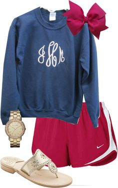 """Monogram Sweatshirt OOTD"" by classically-preppy ❤ liked on Polyvore"