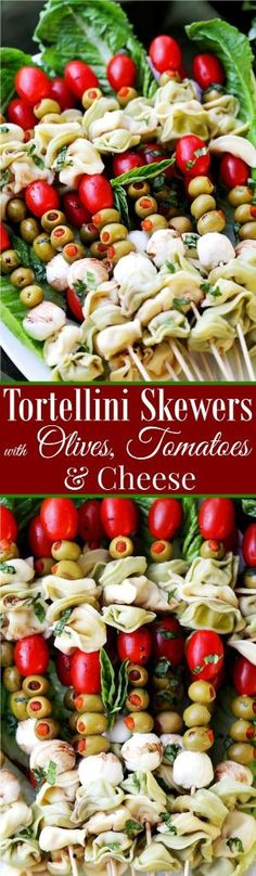 Tortellini Skewers with Olives Tomatoes and Cheese Recipe - Fun and festive appetizer plate with cheesy tortellini flavorful manzanilla olives, grape tomatoes and fresh mozzarella cheese threaded on skewers. Perfect New Year's Eve party food! Tapas, Appetizer Plates, Easy Appetizer Recipes, Appetizer Ideas, Holiday Appetizers, Yummy Appetizers, Party Appetizers, Antipasto, Cheese Recipes