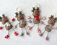 Felt reindeer set with long legs, Rudolph Reindeer with Christmas decorations reindeer boots gloves, scarf, felt kawaii felt and fleece Fabric Christmas Decorations, Fabric Ornaments, Felt Decorations, Felt Christmas Ornaments, Handmade Ornaments, Handmade Christmas, Christmas Sewing, Christmas Projects, Felt Crafts Patterns