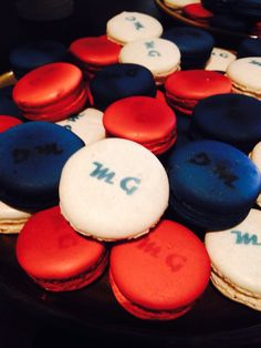 Monogrammed macarons in raspberry, blueberry and vanilla!!!