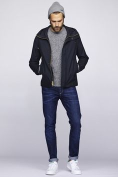 How to wear: black bomber jacket, grey crew-neck sweater, navy jeans, white leather low top sneakers Jean Outfits, Casual Outfits, Men Casual, Urban Fashion, Mens Fashion, Black Bomber Jacket, Navy Jacket, Navy Jeans, Men's Jeans