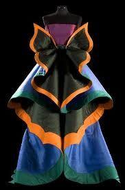 vestido mariposa. azul, verde, naranja, negro, morado.