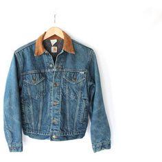 Vintage 80s Carhartt Denim Acid Wash Jacket with Corduroy Collar // Women's Small