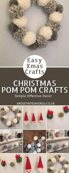 Christmas Pom-Pom Crafts - make these pretty and simple Christmas decorations