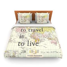 """Catherine Holcombe """"To Travel Is To Live"""" Color Map King Fleece Duvet Cover - Outlet Item"""