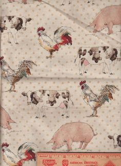 "Tan Polka Dot Pig Cow Rooster Chicken farm bolt end scrap fabric 14"" by 44"""