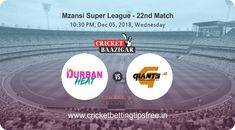 Cricket Baazigar Provide Match Prediction and cricket betting tips Durban Heat vs Nelson Mandela Bay Giants, Mzansi Super League 2018