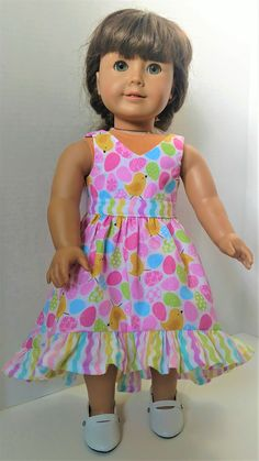 Baby Yellow, Pink Blue, American Girl Dress, Baby Chicks, Easter Dress, Striped Fabrics, 18 Inch Doll, Holiday Outfits, Paper Dolls