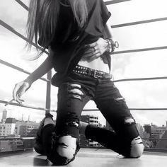 Black broken ripped jeans alternative scene rock goth dark #pretty
