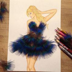 Feather dress by Edgar Artis