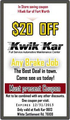 Free Brake Check and Tire Rotation Coupon